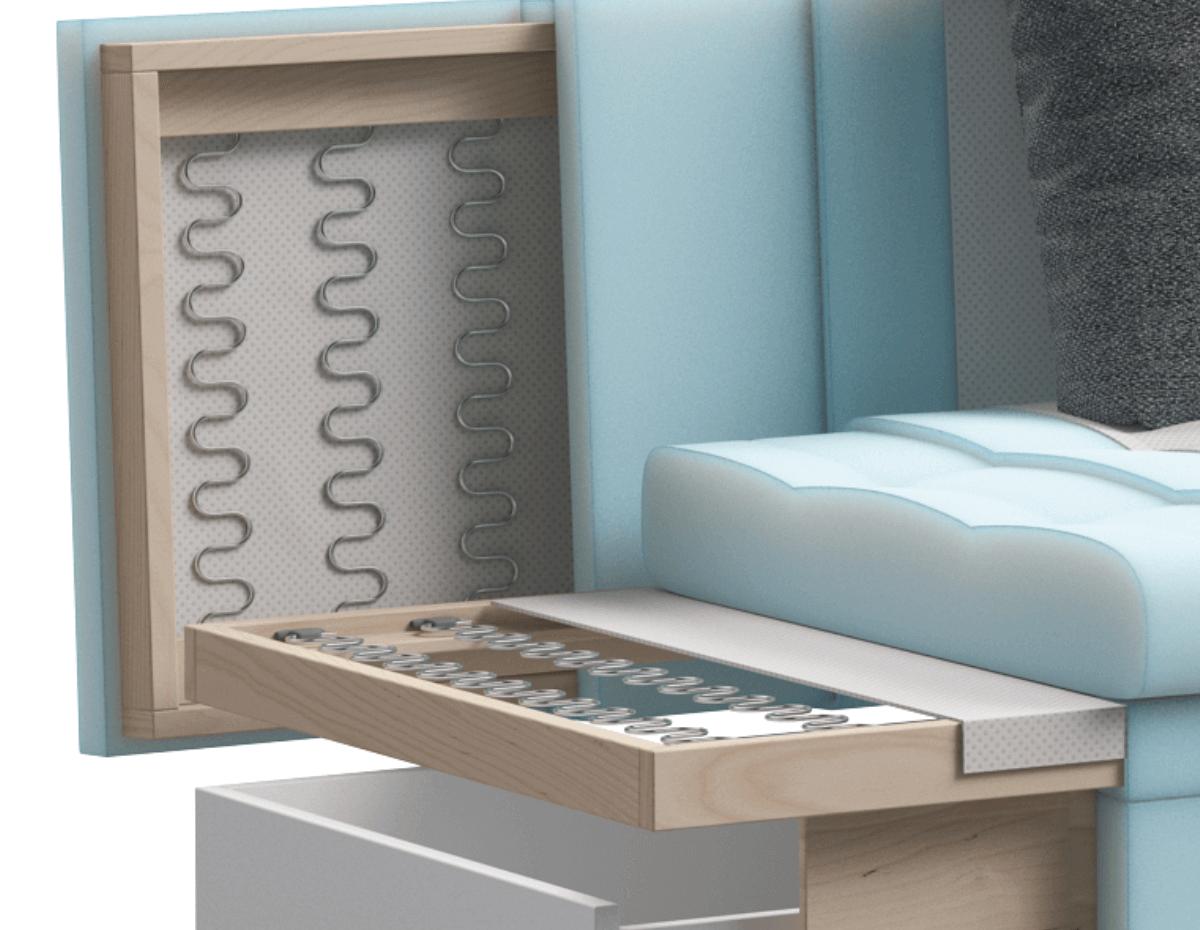 Ваш комфорт обеспечит матрас выполненный из высокоэластичного ППУ, в сочетании со стальной пружинной змейкой в основании.