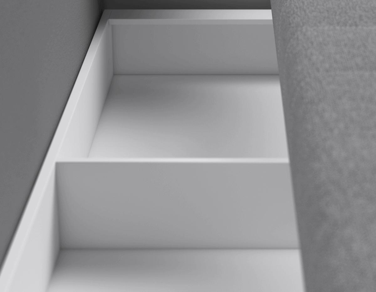 Бельевой короб под посадочной частью разделен на 2 отсека - удобное и безопасное хранение.